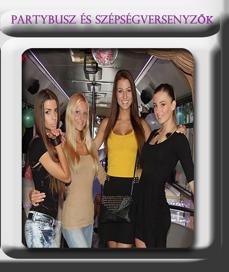 szépségversenyzők a partybuszon